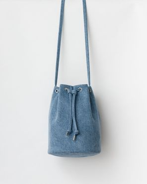 Canvas drawstring laukku, washed denim